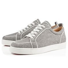 Christian Louboutin Rantulow Orlato Mens Flat Grey Cotton Mens Sneakers.jpg (600×600)