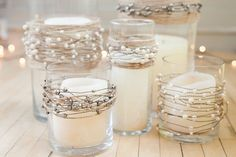 Pearl Garland 24 ft Beach Wedding Wedding by SoireeSupply Diy Candle Centerpieces, Simple Wedding Centerpieces, Centerpiece Flowers, Pearl Centerpiece, Cheap Centerpiece Ideas, Budget Wedding Decorations, Quinceanera Centerpieces, Jar Candles, Floating Candles