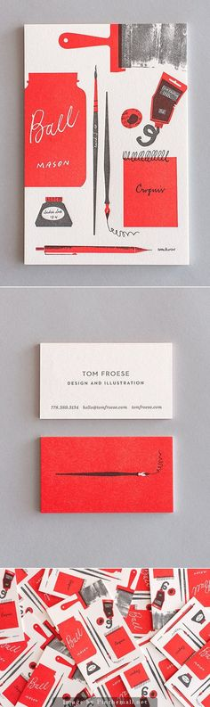 Tom Froese's Illustrated Personal Stationery Design, via From up North — Beautiful business card design for an illustrator and designer! Simple, elegant, and with a handmade touch Layout Design, Logo Design, Graphic Design Branding, Stationery Design, Corporate Design, Identity Design, Typography Design, Print Design, Web Design