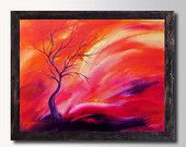 Pink Orange Landscape Sunset - Fantasy Art, Canvas Print  from an Original Oil Painting,  Pink Red Abstract Contemporary Home decor