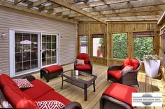 Treat yourself to a quiet spot and protect yourself from mosquitoes with a gazebo or pavilion built by Patio Design. Screened In Porch Plans, Screened Porch Designs, Screened Gazebo, Pergola Canopy, Deck With Pergola, Pergola Ideas, Patio Ideas, Backyard Pavilion, Backyard Gazebo