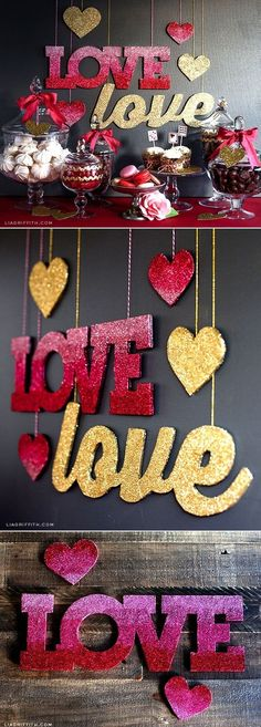 28 Super Ideas For Birthday Decorations Diy Banner Pink And Gold Diy Birthday Decorations, Party Decoration, Valentine Decorations, Wedding Decorations, Glitter Decorations, Decoration St Valentin, Glitter Projects, Diy Projects, Diy Banner
