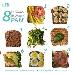 *recomiendo pan sin gluten o de origen orgánico (marcas q uso: food for life y one degree organics) 1. aguacate + pimenton + tomate 2. mantequilla de maní + banana + chía 3. mantequilla de maní mezclado con polvo de cacao 4. aguacate + huevo + arugula 5. mantequilla pura + albahaca 6. huevo + aguacate + brotes + pimienta de cayena 7. aguacate + huevo hervido 8. aguacate + tomate + chía www.lavidaorganic.com ¡comparte tus favoritos!