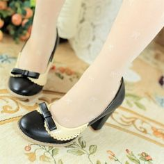 USD16.49Fashion Round Closed Toe Patchwork Chunky High Heels Black PU Pumps