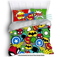 THIS LISTING IS FOR A COMFORTER OR DUVET COVER & PILLOW CASE(s)  Inspired by your favorite Superhero characters this colorful and fun boys bedding will put some SHAZAM into his bedroom.  Available in Toddler, Twin, Twin XL, Full/Queen, & King sizes. The main listing photo (Image 1) is to scale for a 90x90 inch full/queen comforter/duvet.   MATCHING ITEMS  ✦ FABRIC SHOWER CURTAIN https://www.etsy.com/listing/250118168/superhero-shower-curtain-superhero?  ✦ BEDSKIRT  ✦ WINDOW CURTAIN PANELS  ✦…