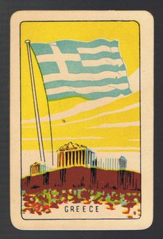 Playing-Swap-Cards-1-VINT-COLES-1ST-SERIES-NMD-FLAGS-GREECE-K64