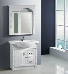 bathroom vanities | White bathroom vanity is not only use in traditional theme, but also ...