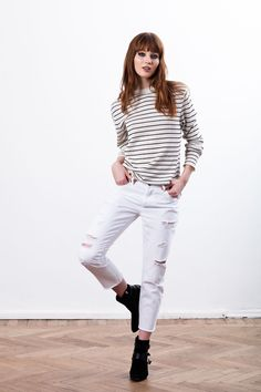 Sweaters & Vests – Striped knit boyfriend sweater // CLAUDE – a unique product by KristaElsta via en.DaWanda.com