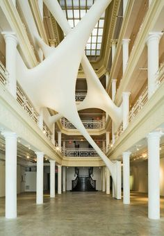Stretched organic forms in an atrium