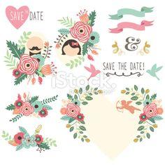 Vintage Wedding Flora Invitation- illustration Royalty Free Stock Vector Art Illustration