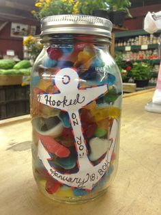 "Handmade ""Hooked on you"" gift for my boyfriend made with gummies and a mason jar"