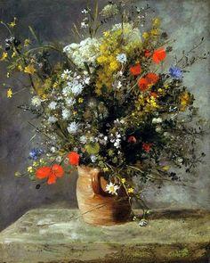 Jarrón de flores - Óleo de Renoir