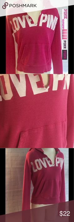 """Victoria's Secret Pink hooded sweatshirt large This sweatshirt is in very good condition with no rips or stains and comes from a smoke free home.  Length 21"""" chest 19.5"""" approx laying flat.  Women's large.  Buy with confidence I am a Posh Ambassador, top rated seller, mentor and fast shipper.  Don't forget to bundle and save.  Thank you. PINK Victoria's Secret Tops Sweatshirts & Hoodies"""