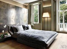 """Contemporary Bedroom / like wall- """"headboard"""" idea"""