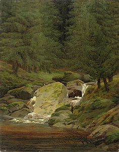 Caspar David Friedrich (German, Tannen am Wasserfall [Fir Trees by the Waterfall], Oil on canvas, x cm. Kunsthalle Hamburg via artist-friedrich Franz Xaver Winterhalter, Landscape Art, Landscape Paintings, Landscapes, Caspar David Friedrich Paintings, Casper David, Creepy Art, Evergreen, Les Oeuvres