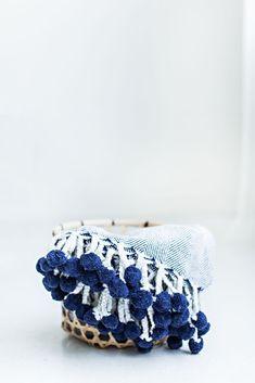 Herringbone PomPom Throw - Navy  pom pom blanket, cozy, modern blanket, design