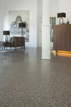 Compact tiles by Bomarbre CP_3006 Torcello 40x40 at Hotel Bellevue, De Haan www.bomarbre.be