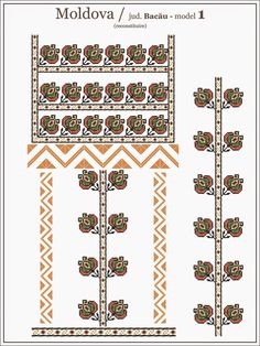 Semne Cusute: Romanian traditional blouse - MOLDOVA region, Baca... Folk Embroidery, Embroidery Patterns, Knitting Patterns, Cross Stitch Designs, Cross Stitch Patterns, Republica Moldova, Contemporary Decorative Art, Craft Patterns, Beading Patterns