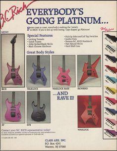 B C Rich Bich Warlock Bass St STB Ironbird Guitars 1988 Ad 8 x 11 Advertisement | eBay