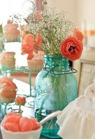 Tinted jars and coral flowers. Just for ideas. this is simple but really pretty. Could do a more contemporary jar or vase