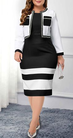Plus Size White Open Front Cardigan and Sheath Dress Plus Size Dresses, Dresses For Sale, Plus Size Outfits, Dresses For Work, Dresses Online, Plus Size Fashion For Women, Latest Fashion For Women, Womens Fashion, Dress With Cardigan