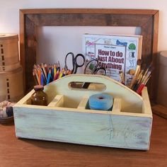 bring the art supplies to the cottage!  http://www.etsy.com/listing/100808114/primitive-caddy-tote-divided-cubby