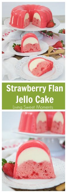 This decadent Strawberry Flan Jello Cake Recipe is a 3 in a cake and flan encased in a refreshing jello shell. A showstopper dessert for any occasion. More cake recipes at livingsweetmoment. via Desserts Weight Watcher Desserts, Jello Cake Recipes, Köstliche Desserts, Filipino Desserts, Food Cakes, Cupcake Cakes, Gelatina Jello, Bolo Original, Dessert Aux Fruits