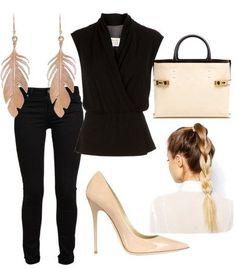 ook total black, alonga e emagrece muuuuito! Sapato nude para um contraste mas se quiser realmente alongar, use um sapato preto fechado, est...