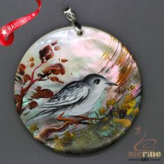 FASHION NECKLACE HAND PAINTED BIRD SHELL PENDANT ZL3005041 #ZL #Pendant