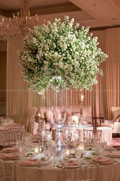 I'm picturing a slightly smaller version of this aster cloud for the tall tables.