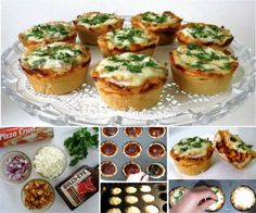 How To Make Mini Deep Dish Cupcake Pan Pizzas food cheese recipe recipes easy recipes dinner recipes lunch recipes pizza recipes how to tutorials kids recipes food tutorials Cheese Recipes, Meat Recipes, Chicken Recipes, Cooking Recipes, Pizza Recipes, Recipies, Chicken Cupcakes, Pizza Cupcakes, Lunch Recipes