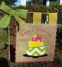 Celebrate a birthday with this completely customizable Burlap Garden Flag. Change up the colors to match your favorites and add