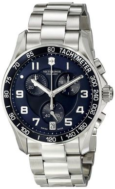 Men watches : Victorinox Men's 241497 Chrono Classic Analog Display Swiss Quartz Silver Watch Quality watches form around the wold at fantastic prices