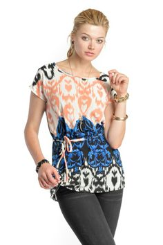 Baroque Tunic Top with Waist Tie
