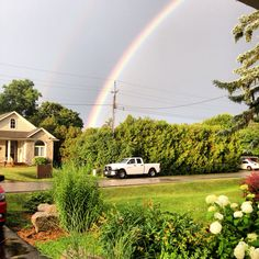 Double rainbows! In front of our home! Just beautiful!