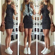 Mini vestido llano cruzar la espalda cuello redondo sin mangas dril de algodón negro