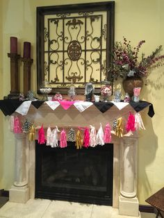 Such a cute idea. A candy bar on top of a mantle for this Kate Spade themed bridal shower. Winery Bridal Showers, Kate Spade Bridal, Mantle, Candy, Bar, Decorating, Decor, Decoration, Sweets