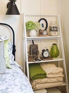 Ladder-Style Shelving Store a variety of items in your bedroom with a ladder-style shelving unit. Open shelves with different depths allow .Need for guest bedroom upstairs. Decor, Furniture, Interior, Storage Solutions Bedroom, Bedroom Storage, Guest Bedrooms, Home Bedroom, Home Decor, Room