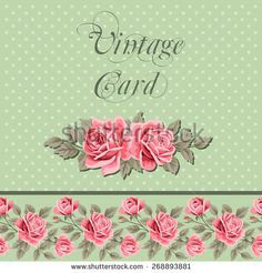 Vintage flower card with roses. Shabby chic vector Illustration - stock vector