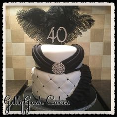 Black & White glamorous 40th Birthday Cake