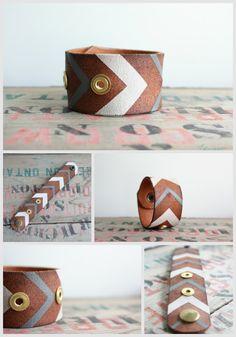 Leather Cuff Bracelet, Upcycled Leather Belt Bracelet, Hand painted Leather Cuff Bracelet, Small Leather Bracelet. $30.00, via Etsy.