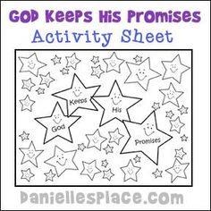 """Abraham """"God Keeps His Promises"""" Activity Sheet for Sunday School from www.daniellesplace.com"""