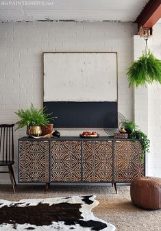 Get the Look: Tribal Modern Mid Century DIY Home Decorating Ideas - Painting with Wall Stencils and Furniture Stencils from Royal Design Studio Furniture Projects, Furniture Makeover, Home Furniture, Furniture Design, Bedroom Furniture, Bedroom Decor, Antique Furniture, Decor Room, Rustic Furniture
