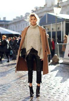 Winter street style. Leather pants, oversized sweater, camel coat.
