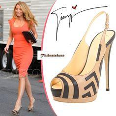 Blake Lively in Giuseppe Zanotti peep-toe slingback [CELE15001] - $224.00 : Discounted Christian Louboutin,Jimmy Choo,Valentino Shoes Online store