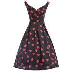 Fay Black Heart Swing Dress   Vintage Style Dresses - Lindy Bop