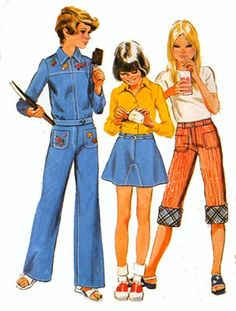 1970s Girls Cuffed Capri Pants, SHORTY Skirt and Cropped Jacket Simplicity 6303 Vintage 70s Sewing Pattern Size 8 Breast 27 by sandritocat on Etsy