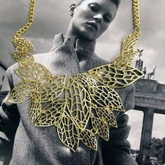 Gold leaf bib filigree necklace with adjustable chain by JEWELETTO