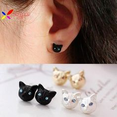 Beautiful Fashion Cat Stud Earrings