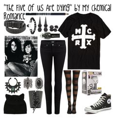 """""""The Five of us are Dying"""" by My Chemical Romance by frerardforever on Polyvore featuring polyvore, Paige Denim, Converse, New Look, Lord & Berry, Funko, fashion, style and clothing"""